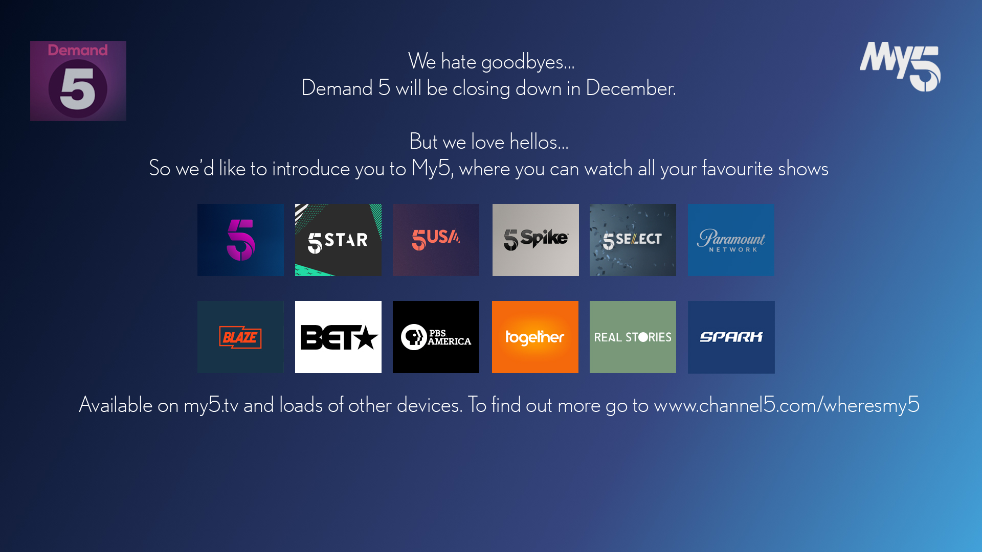 Screenshot of message about Demand 5 app closing down