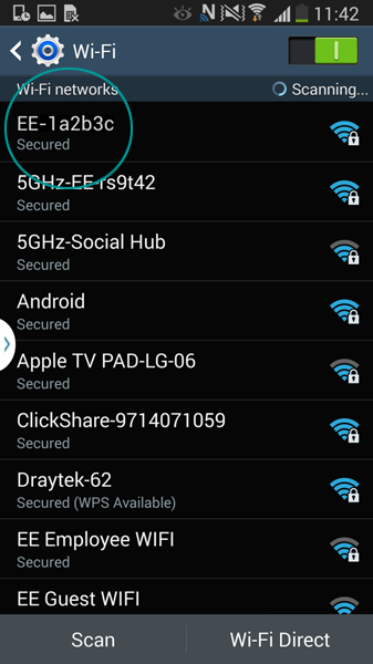 Android wireless connection help ee touch your wifi network routers name to connect greentooth Images
