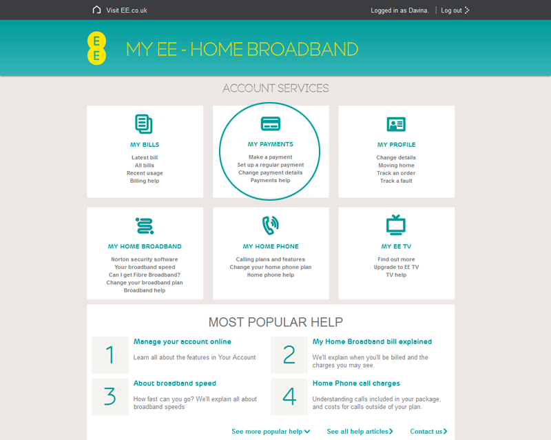 Paying Your Home Broadband Home Phone And Ee Tv Bill