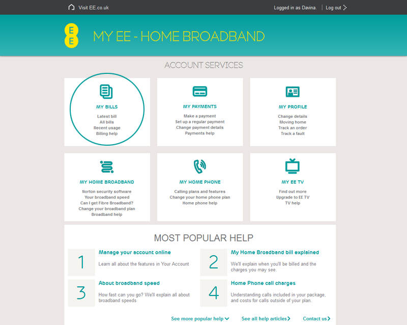 my home broadband  home phone and ee tv bill explained
