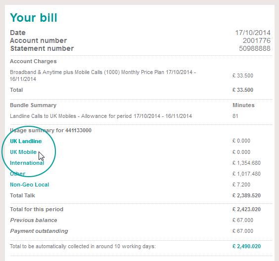 itemised bill