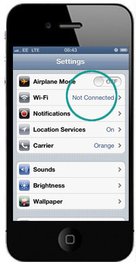Tap WiFi in Network settings
