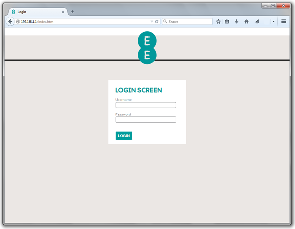 Screenshot of Bright Box router login page