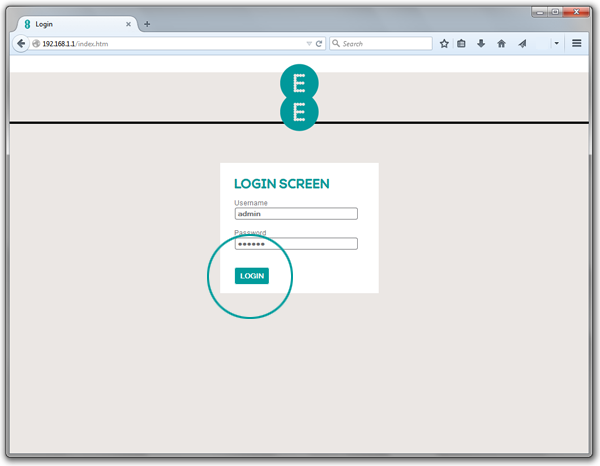 Screenshot of completed login page for Bright Box router