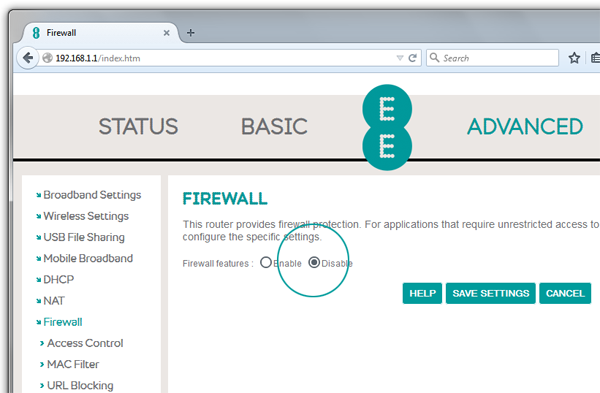 Screenshot of Bright Box router firewall details with Disable button selected