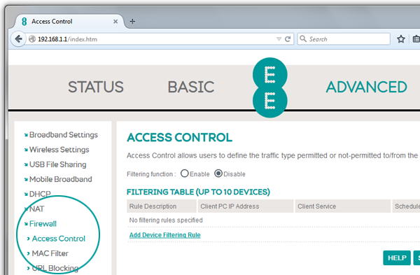 Screenshot of Bright Box router access control details
