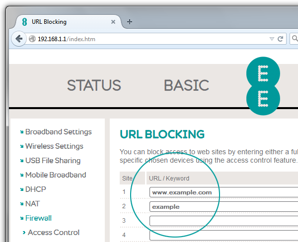 Screenshot of Bright Box router URL blocking details with examples