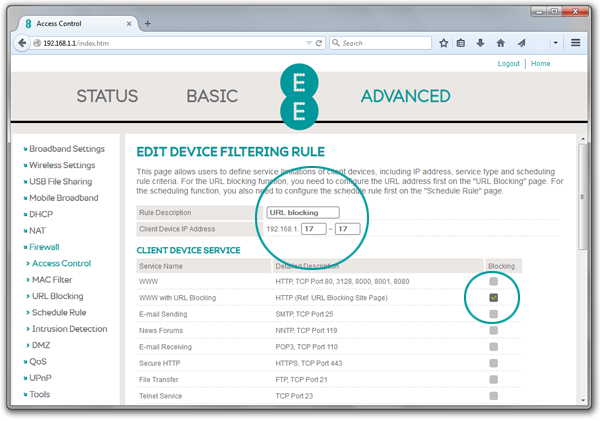 Screenshot of Bright Box router device filtering rules details