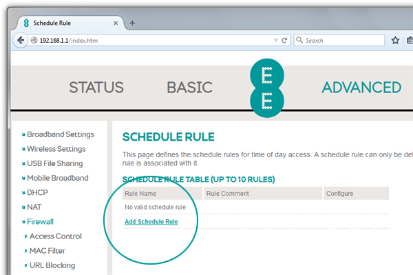 Screenshot of Bright Box router schedule rule page with add schedule rule highlighted