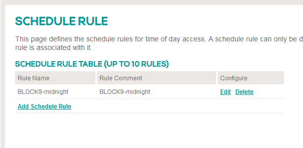 Screenshot of Bright Box router of schedule rule displayed