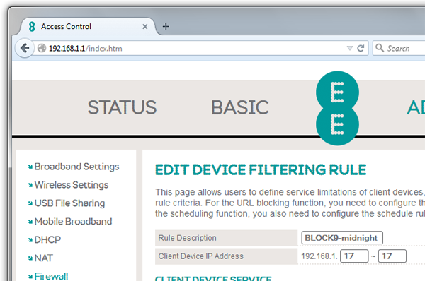 Screenshot of Bright Box router edit device filtering rule page