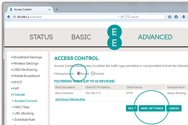 Screenshot of Bright Box router access control details with enable button selected