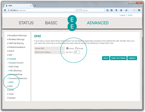 Screenshot of Bright Box router DMZ details with enable button selected