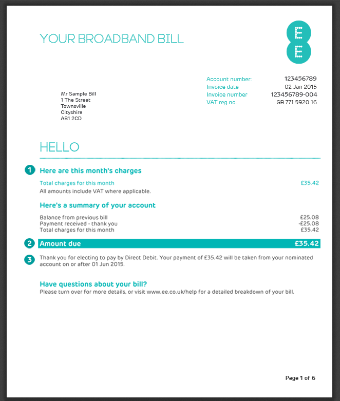 My Bill Explained Home Broadband Home Phone And Ee Tv Ee