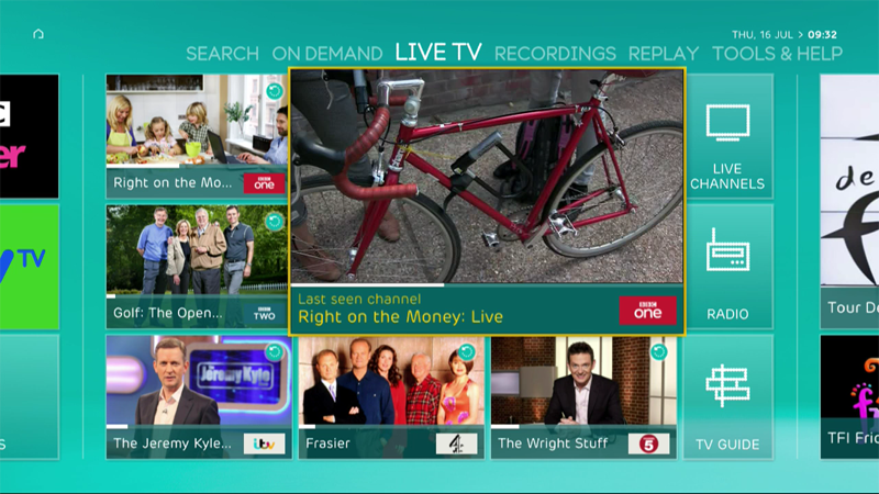 EE TV menu