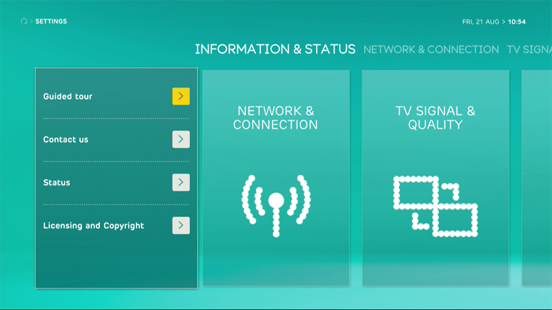 EE TV settings screen