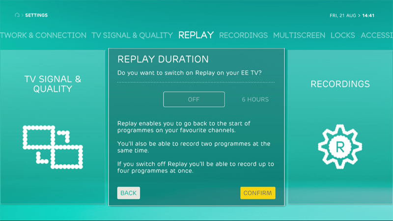EE TV Replay settings menu