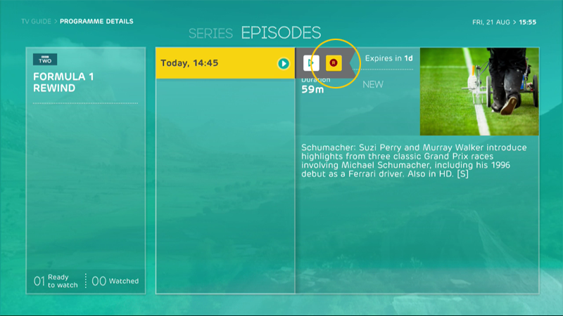 Any programmes showing the Replay icon in your TV guide, channel view ...