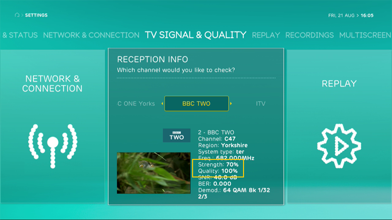 EE TV reception info for strength and quality