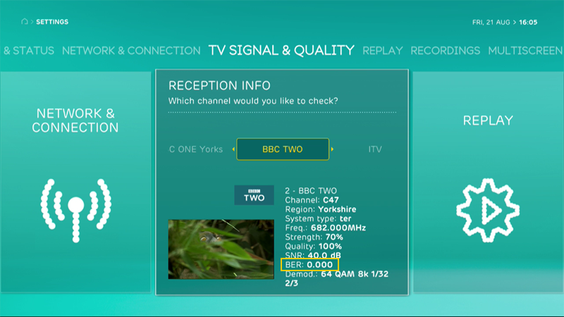 EE TV reception info for Bit Error Ratio