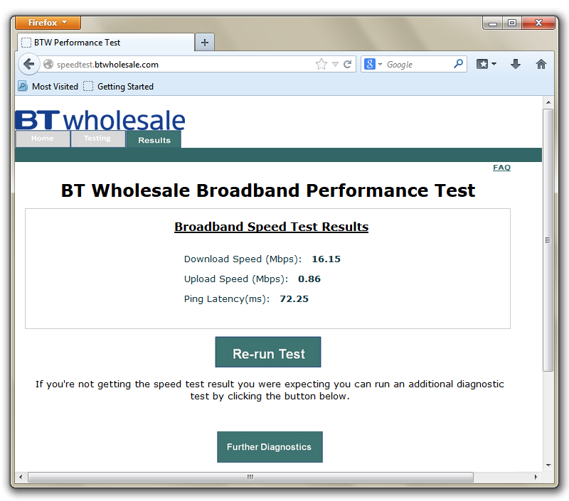 Example of BT Wholesale Broadband Performance Test results page