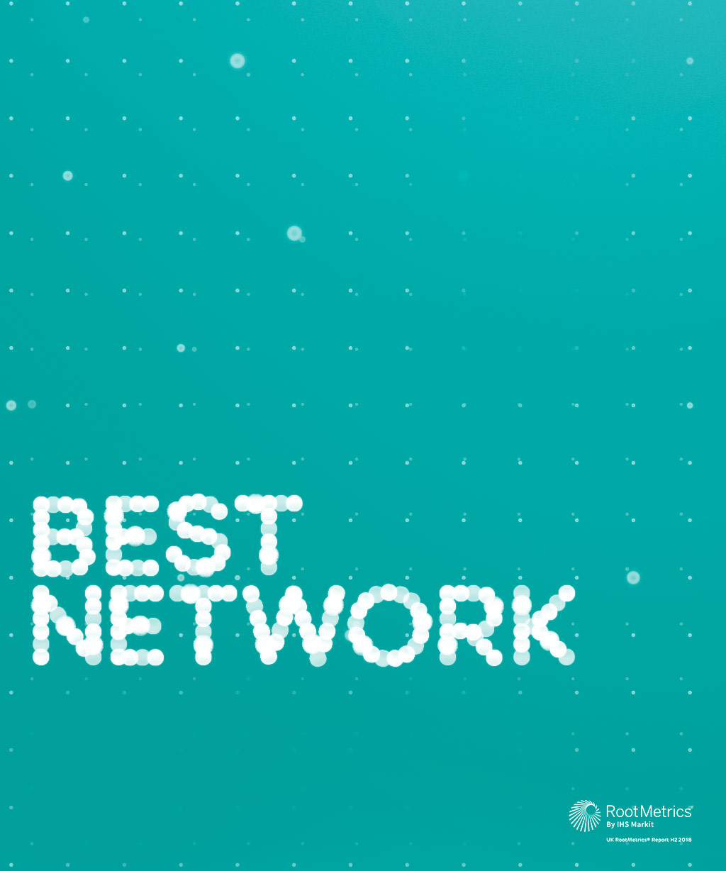 UK's best network five years running on a particle background