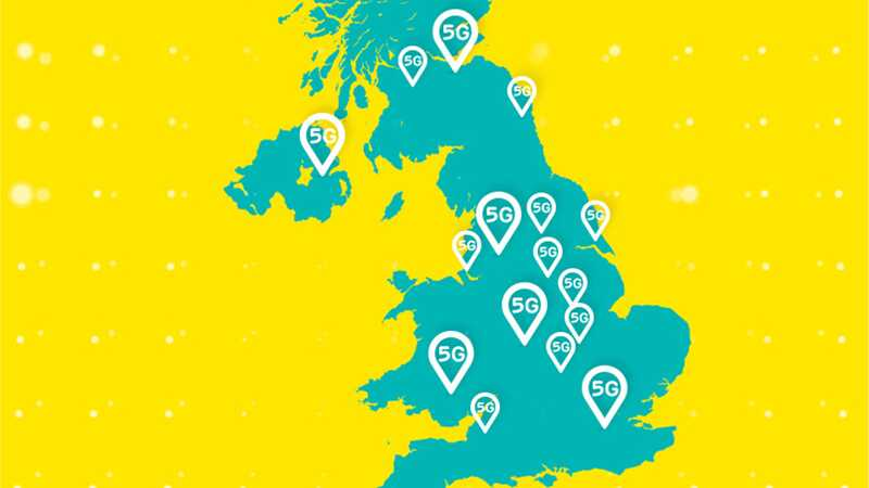 Aqua map of UK showing areas with 5G coverage