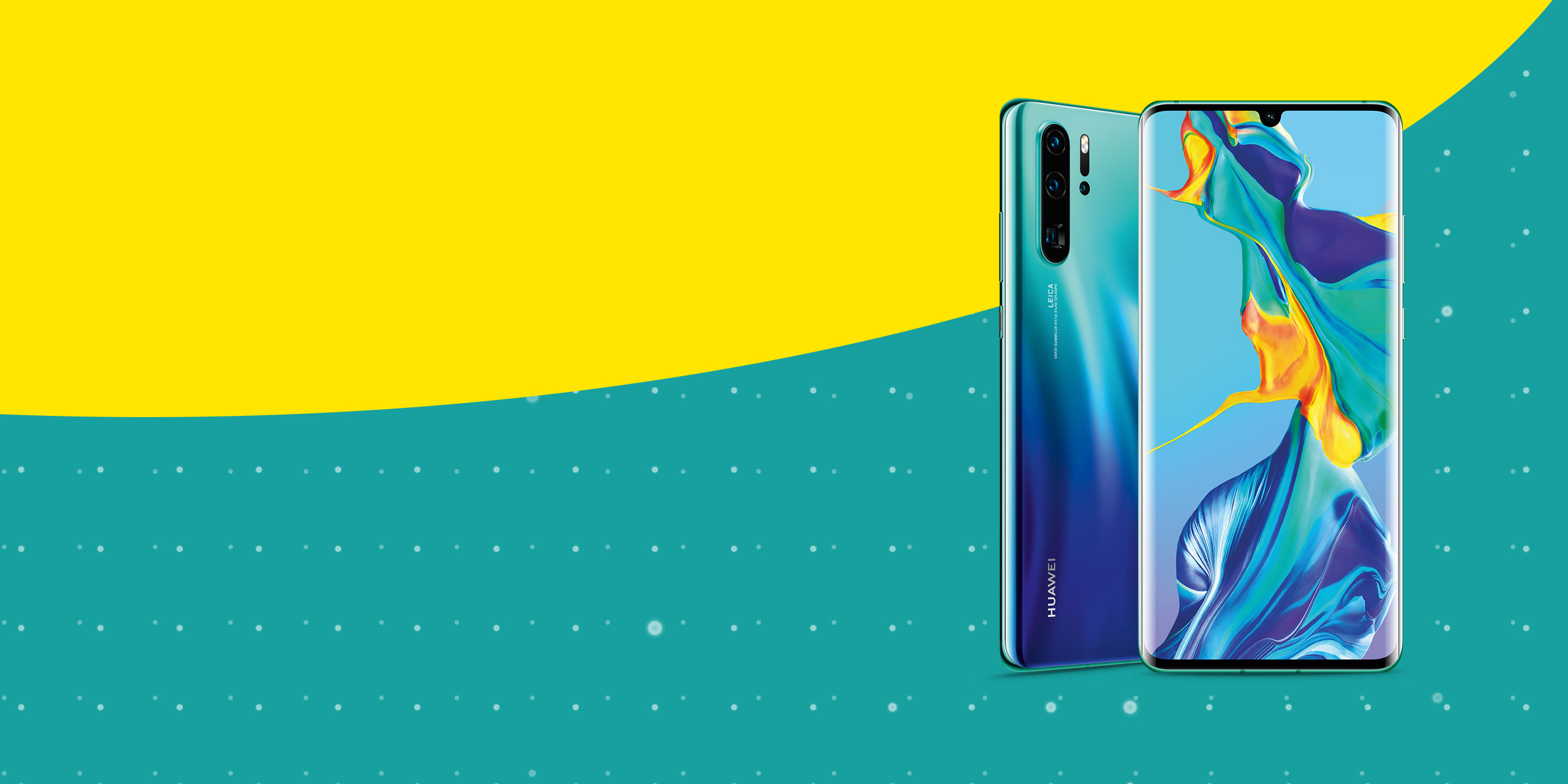 New Huawei P30 on an aqua background