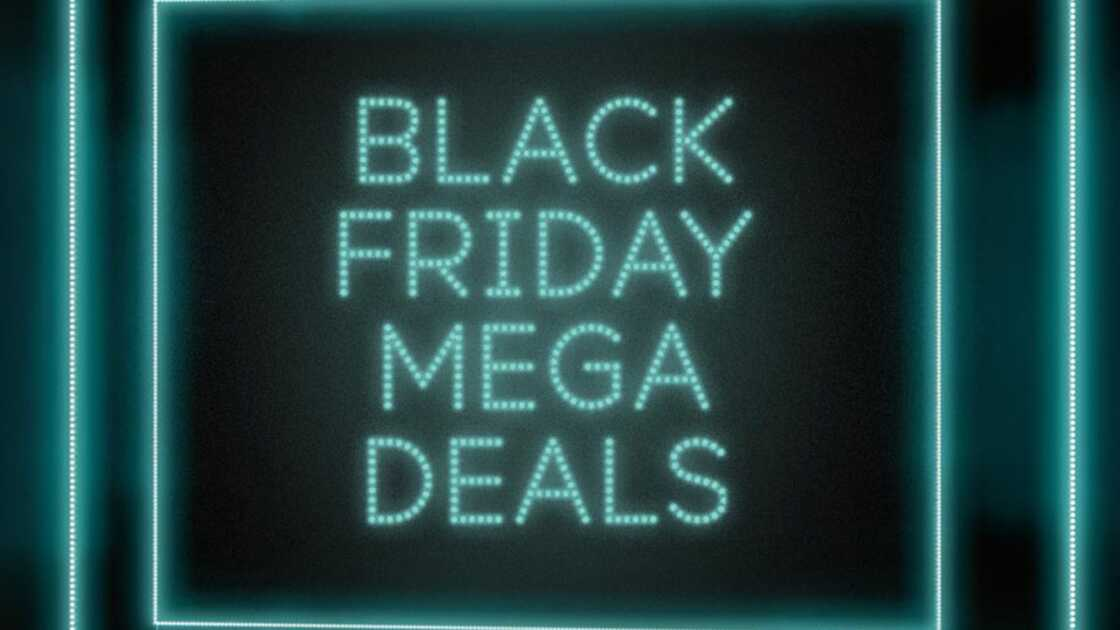 Black Friday Mega Deals on black and aqua background