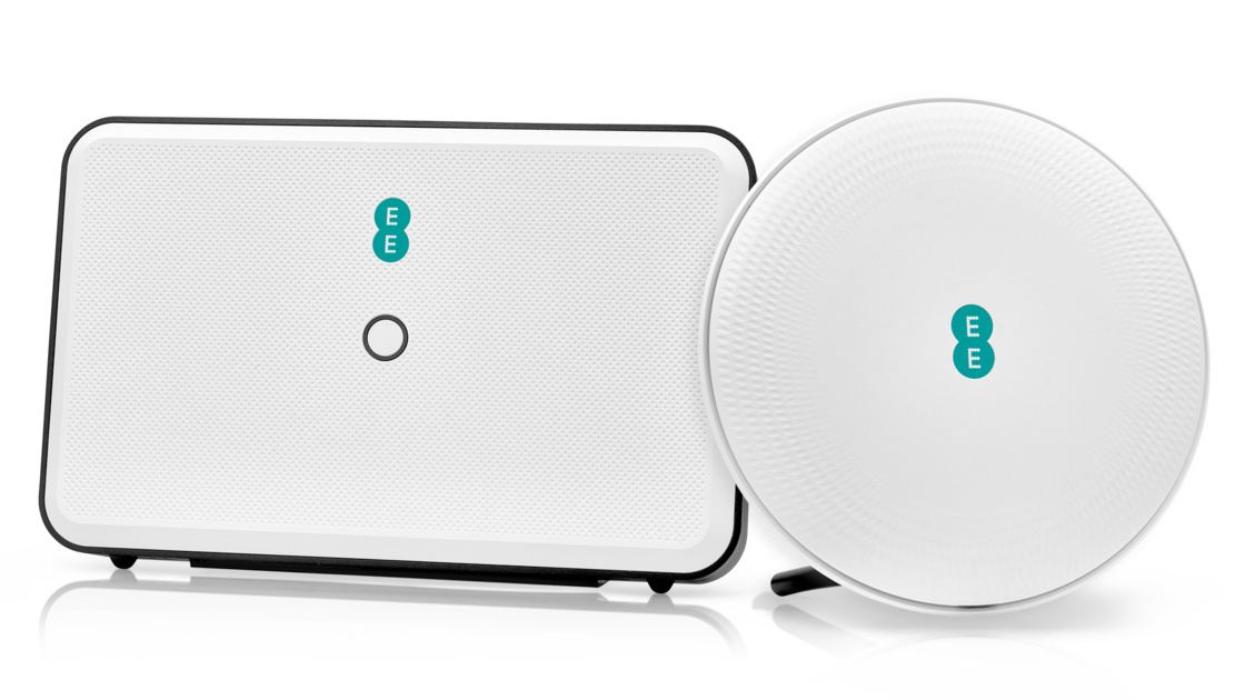 A white EE mobile broadband router next to a WiFi boosting disc