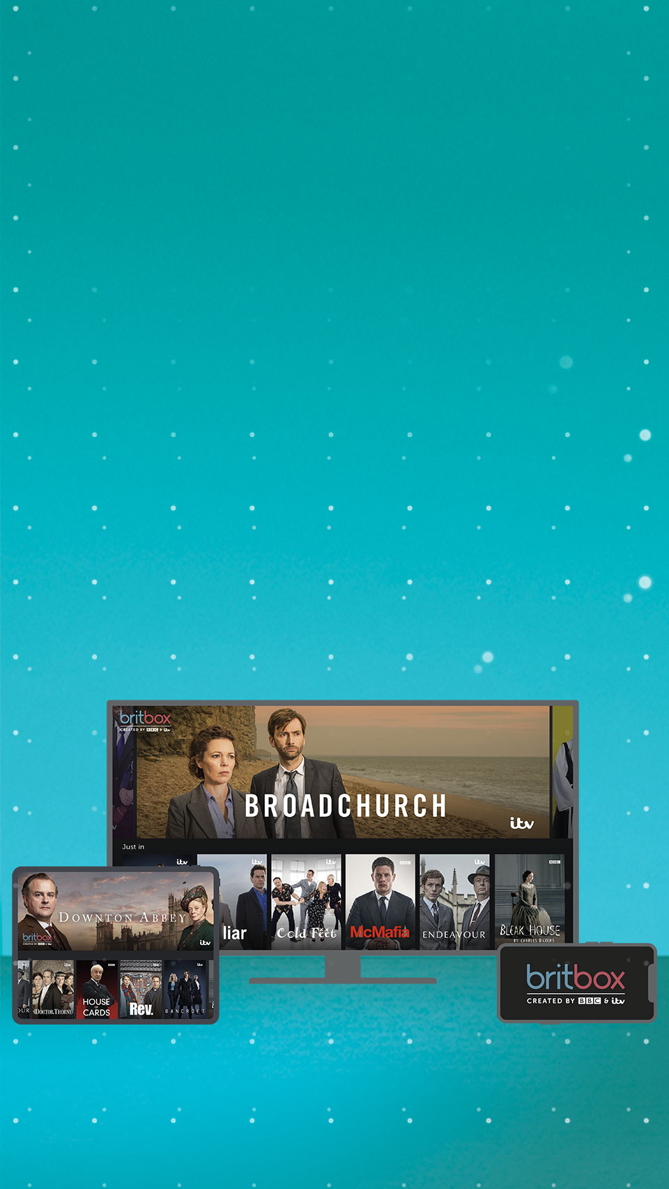 BritBox showing on a tablet, TV and mobile device