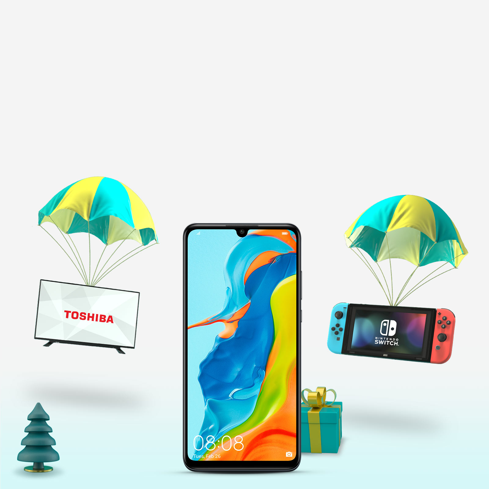 Huawei P Lite & gifts with Parachutes