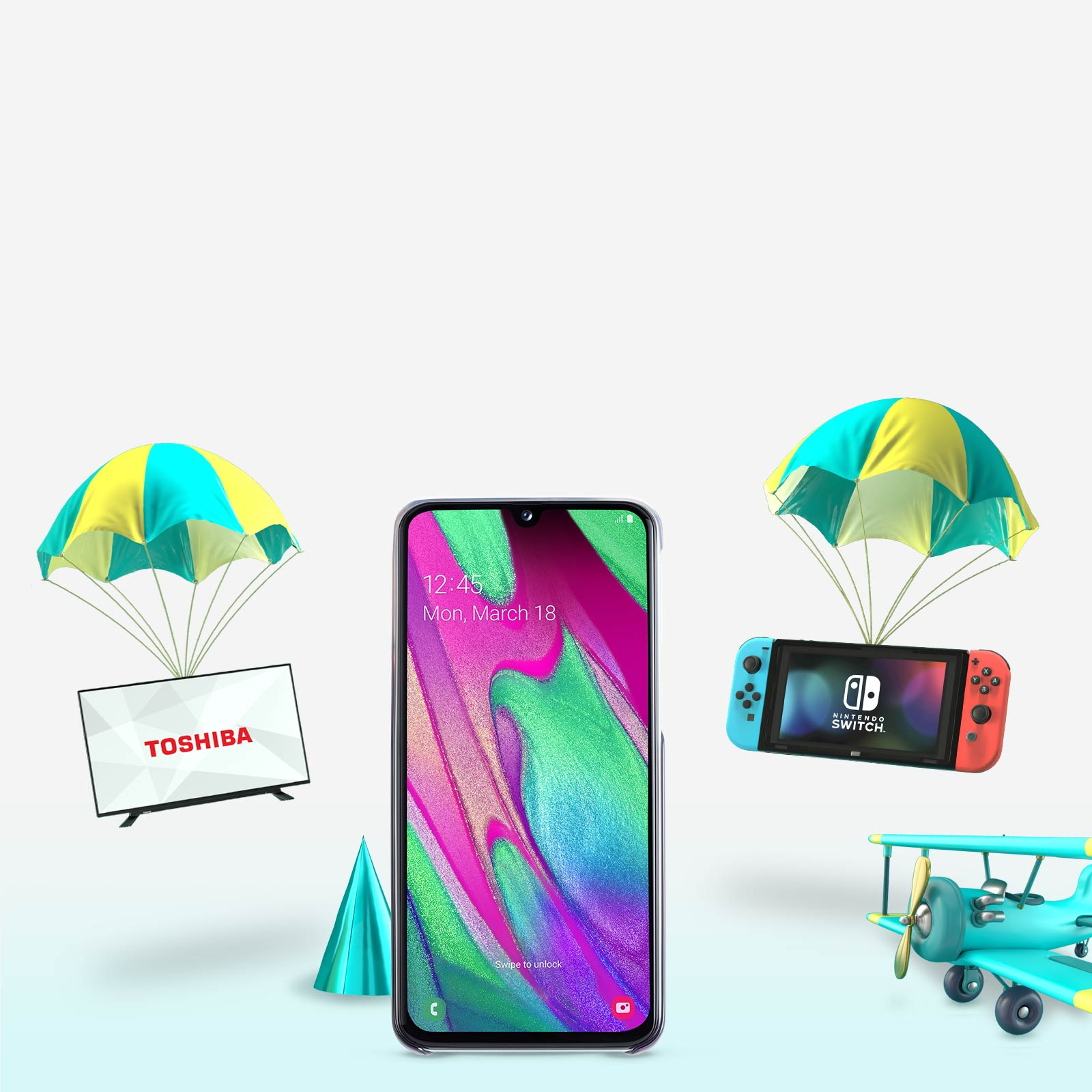 Samsung A40 & gifts with Parachutes