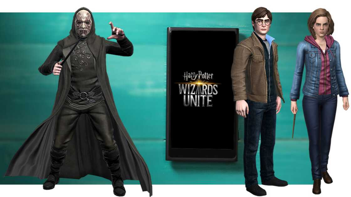 Harry Potter: Wizards Unite game on a smartphone with Harry Potter and Hermione Granger looking on