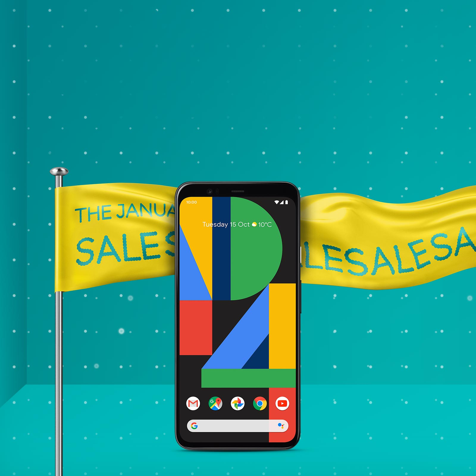 Google Pixel 4 with sales banner in background