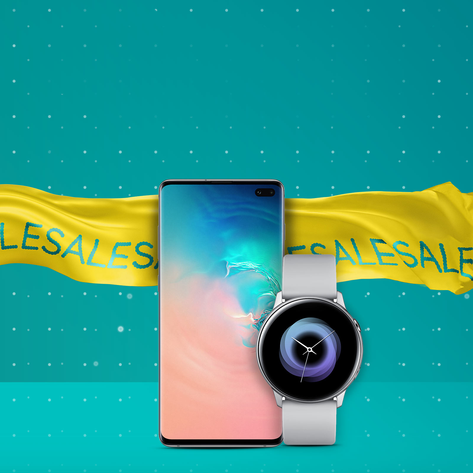 Samsung GS10+ with Galaxy Watch Active and sales banner in background