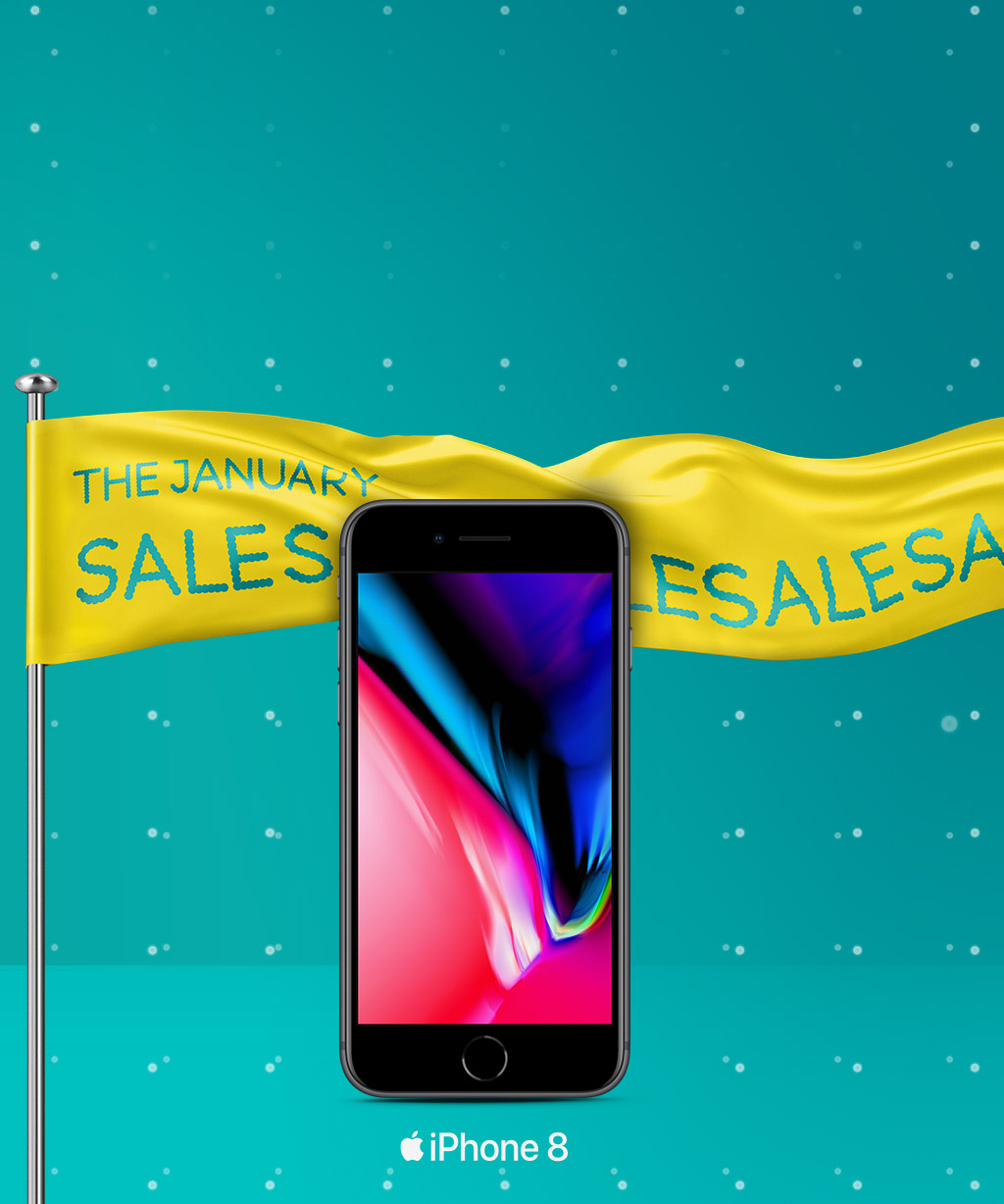 iPhone 8 and a savings flag