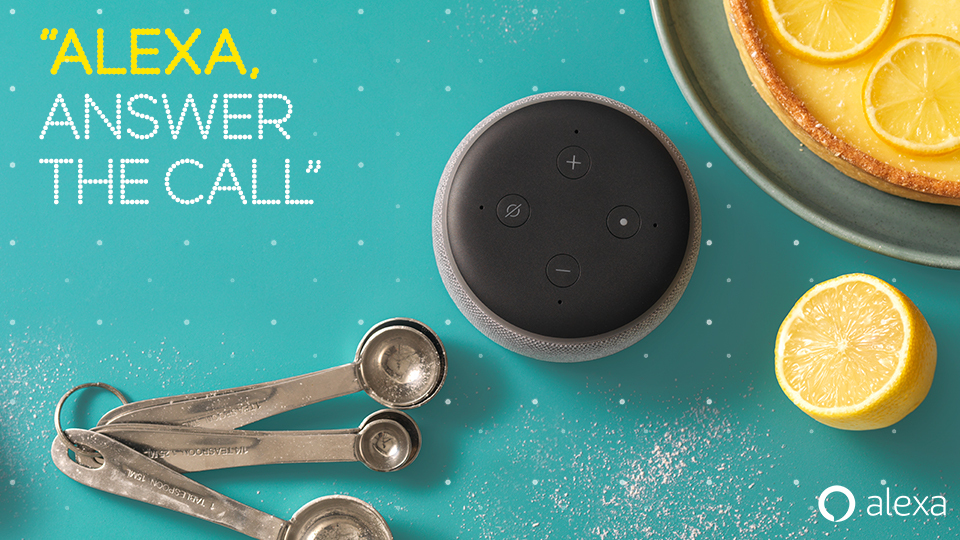 Alexa. Call Mum with two Alexa's on an aqua background