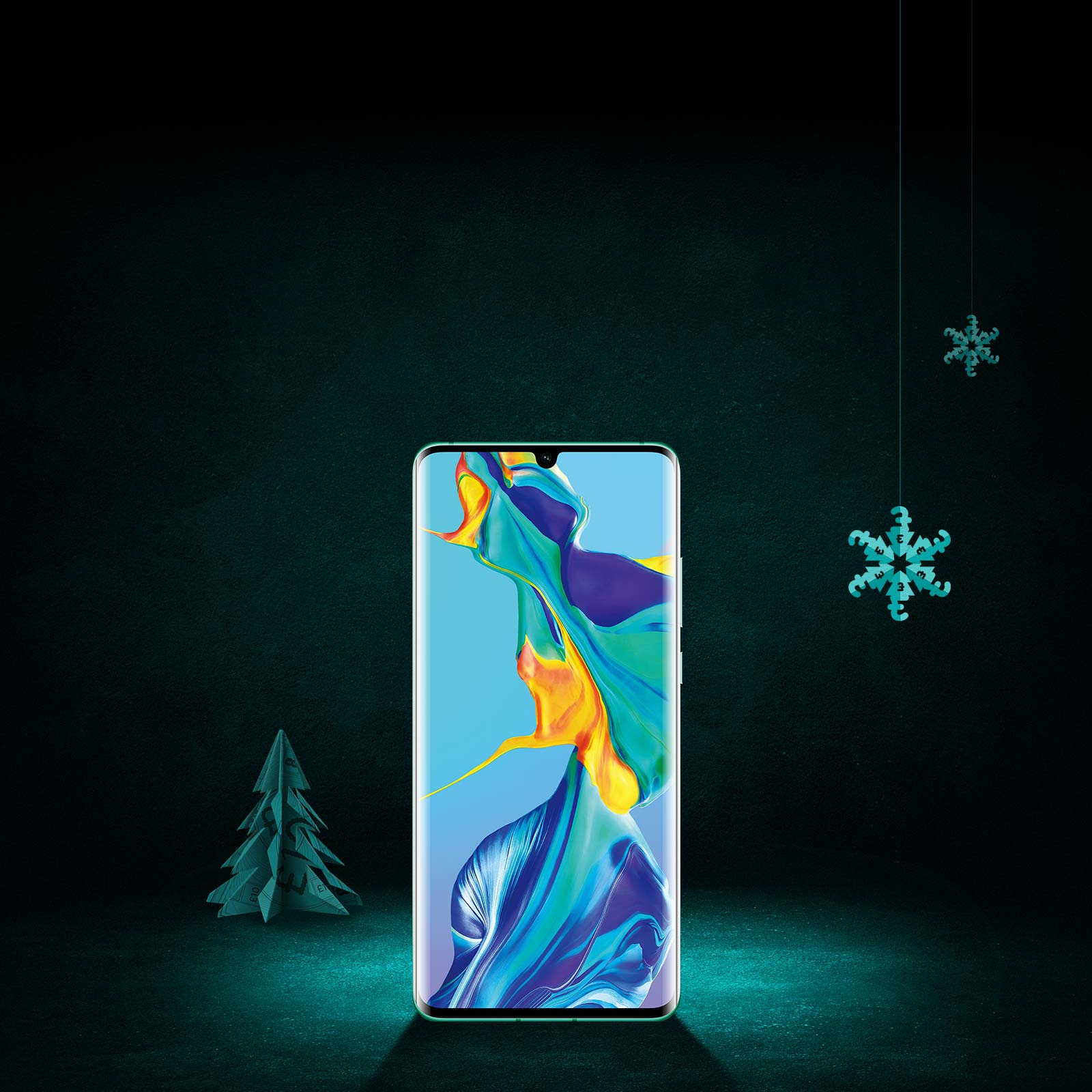Huawei P30 pro on a black and aqua background