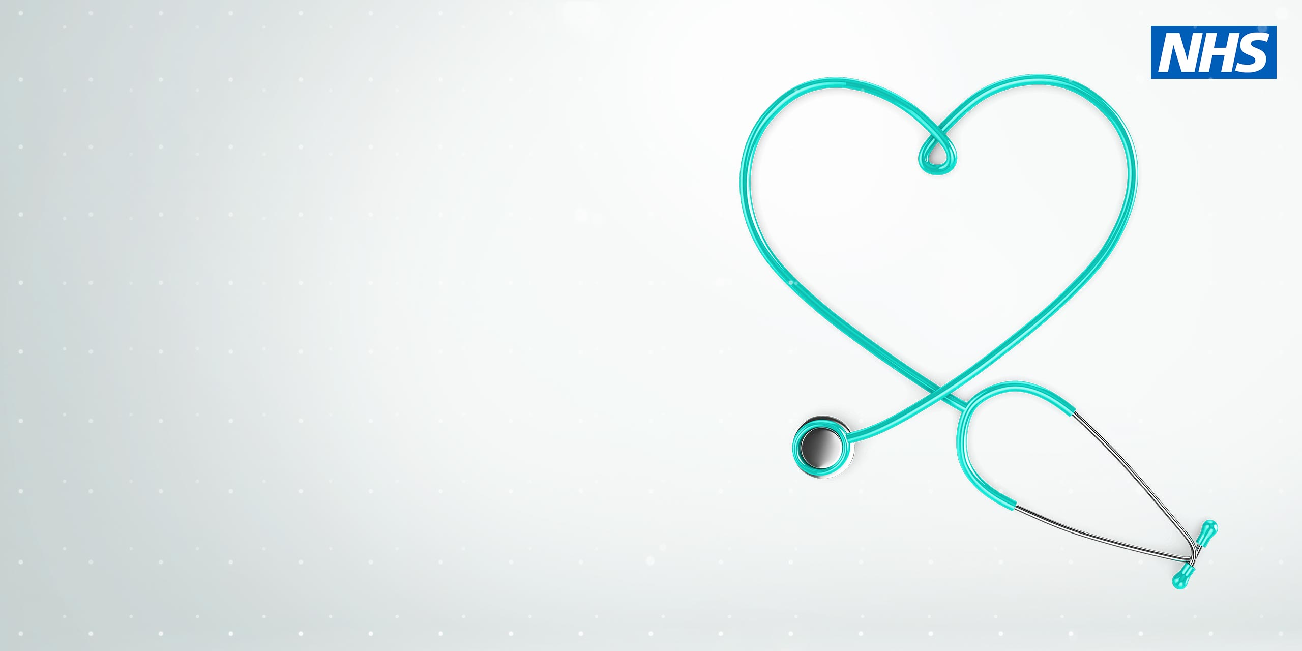 Stethoscope in heart shape with NHS logo