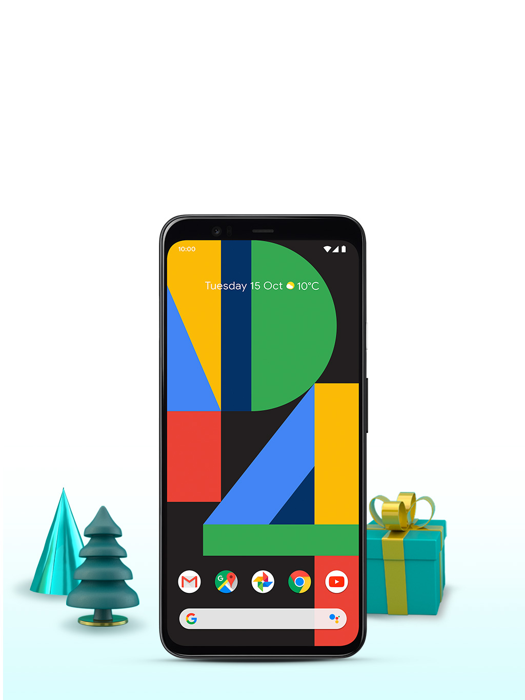 Google Pixel 4 on Christmas backdrop