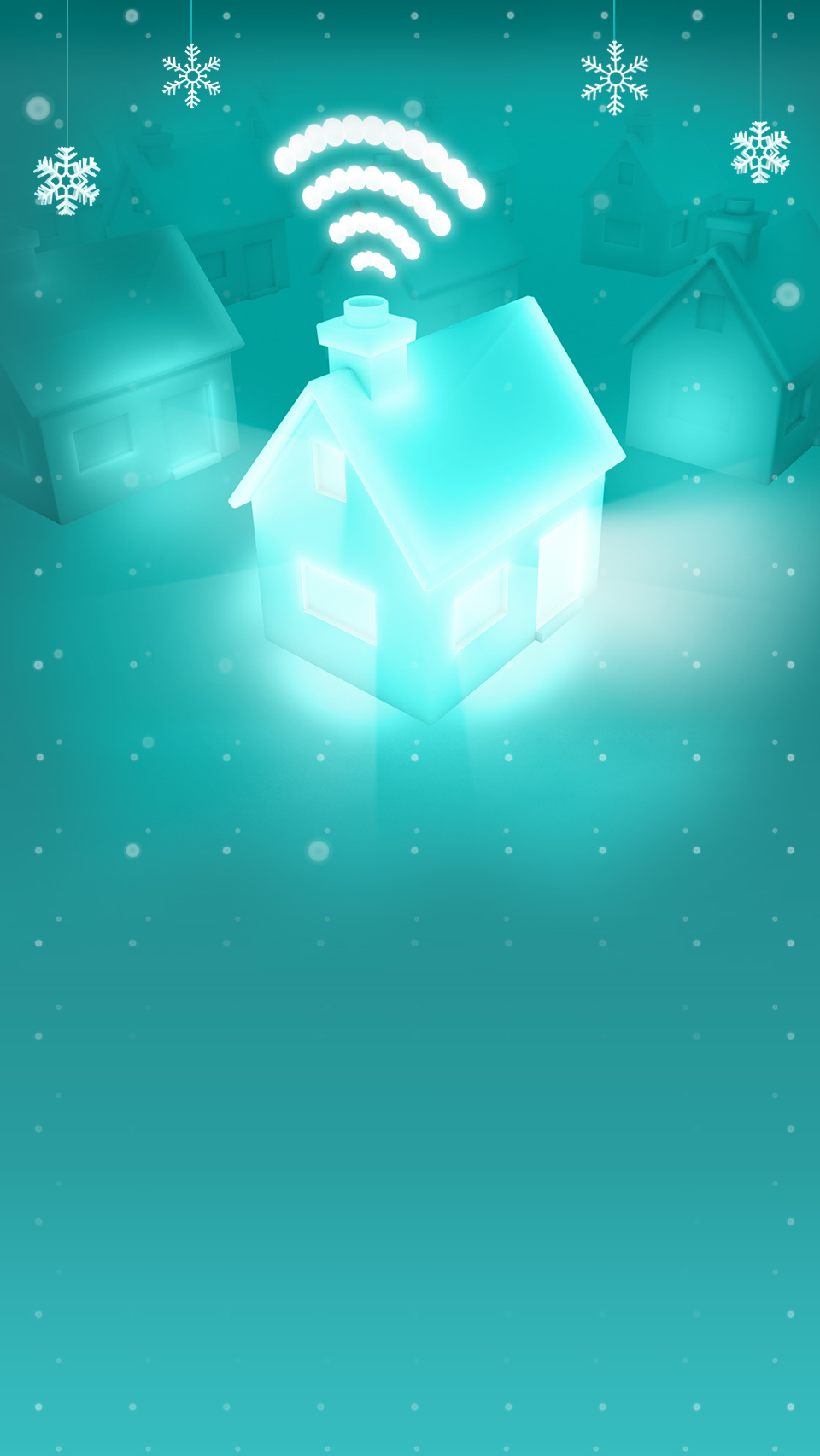 Aqua house with snowflakes