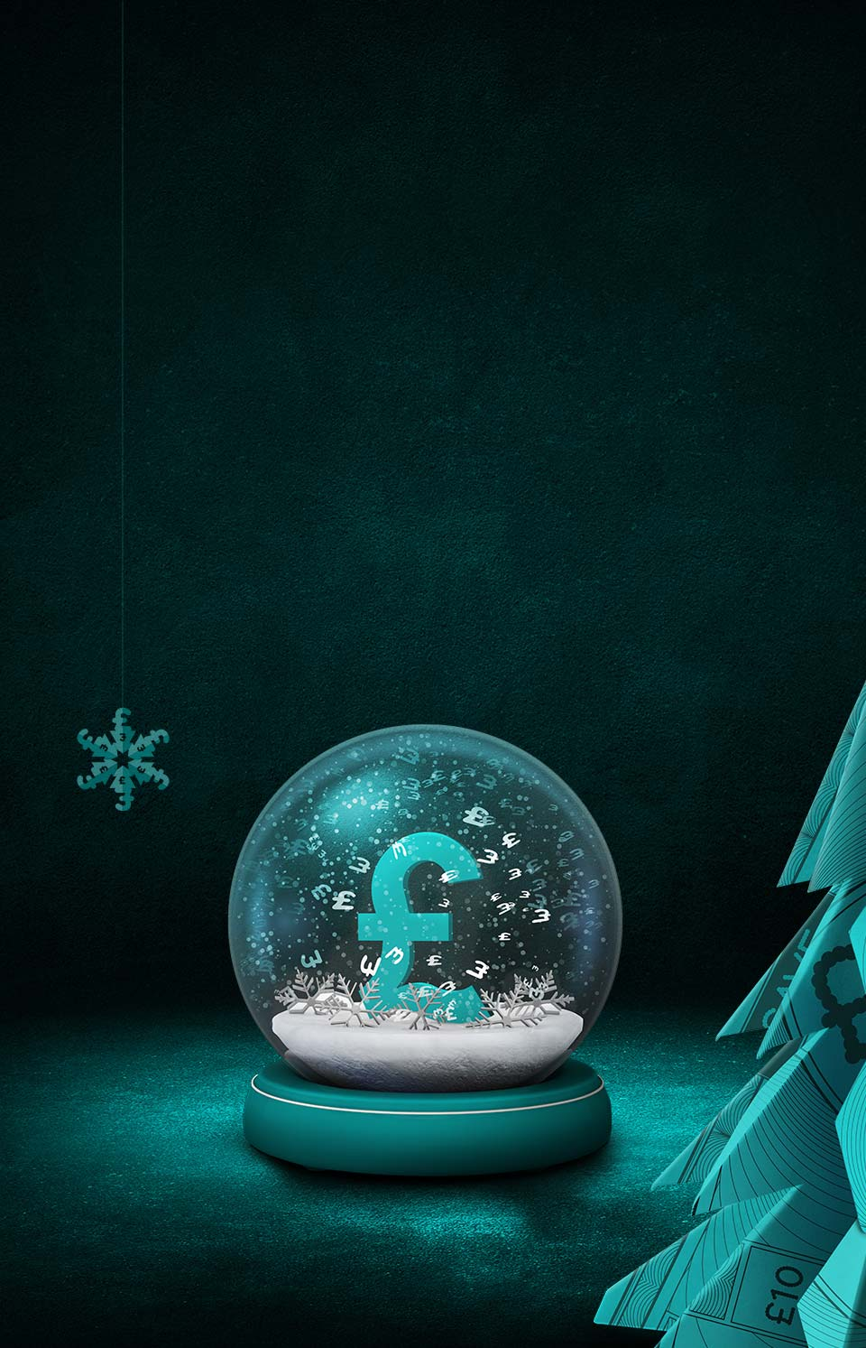 Snow globe with pound sign on a black and aqua background