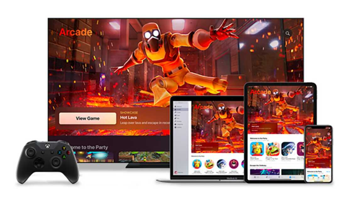 Apple devices showing Apple Arcade games with an Xbox controller