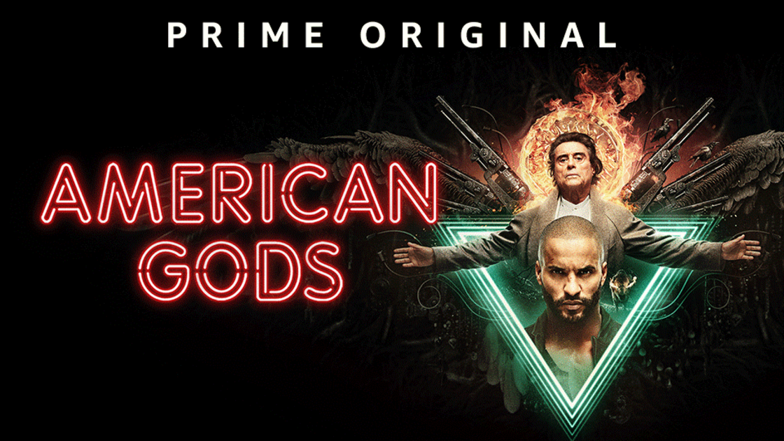 American Gods - image showing Ricky Whittle and Ian McShane with fire and guns behind them