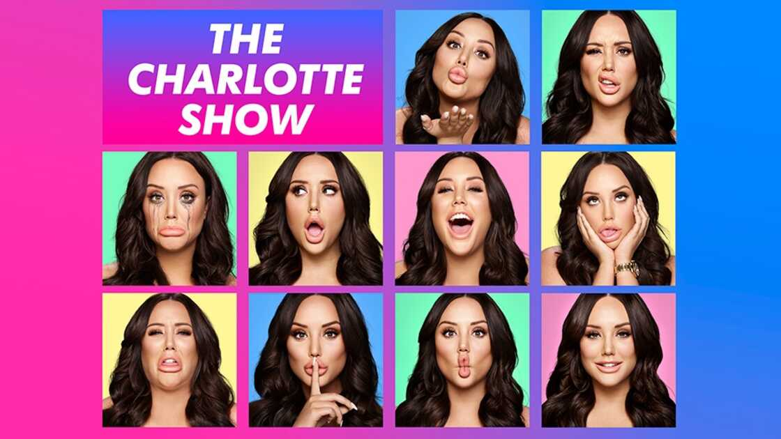 The Charlotte show - image showing the many faces of Charlotte Crosby with a pink and blue background