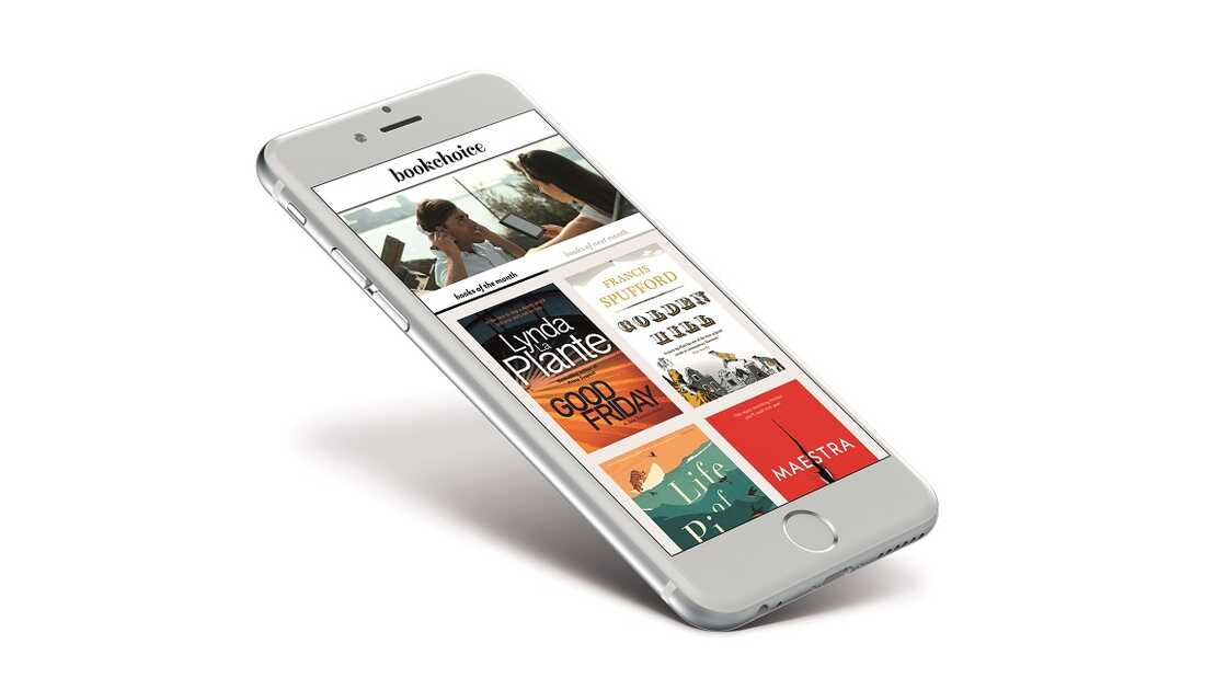 A mobile phone showcases the best and latest book titles for customers through Bookchoice