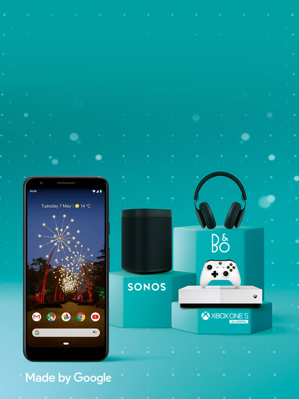 Google Pixel 3a with Sonos speaker, Xbox and B&O headphones