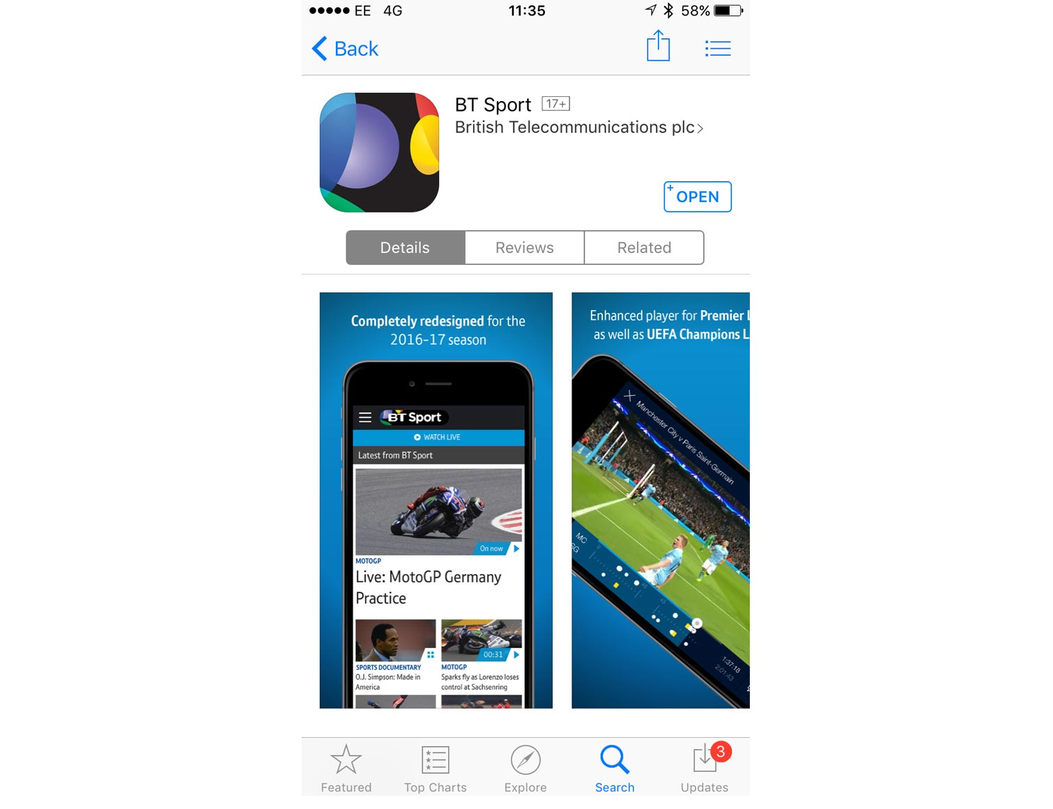BT Sport app download screen
