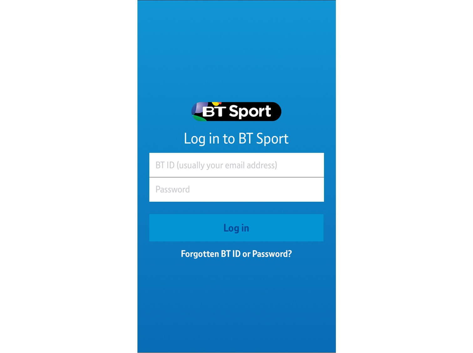 BT Sport app login screen